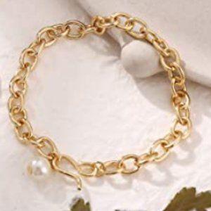 18K GOLD OVAL CHAIN LINK BRACELET W/PEARL